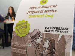 "France is the first country in the world to have passed a law against food waste. The ""gourmet bag"" is to encourage guests at restaurants to take home any unfinished food. Photo: © L. Pastural, France"